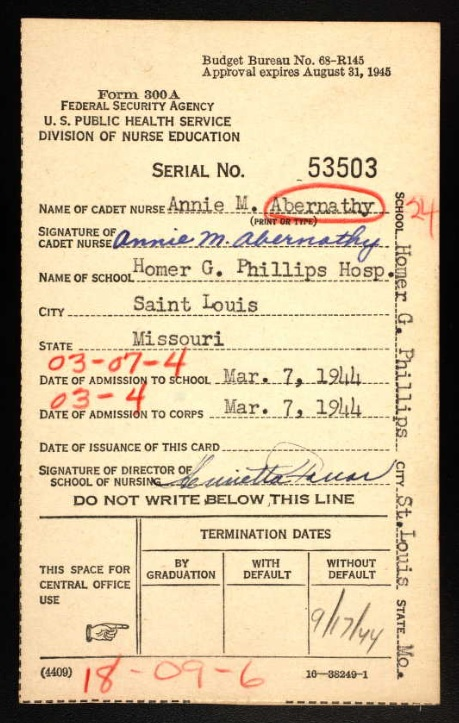 Cadet Nurse Corps membership card