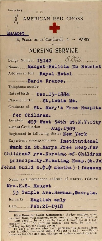 Main file card for a Red Cross nurse born in St. Louis