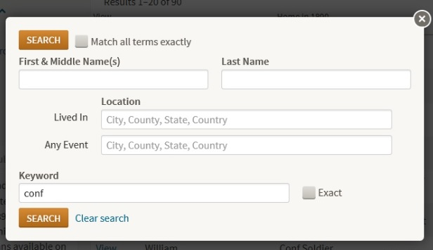 1890 Veterans Census search form