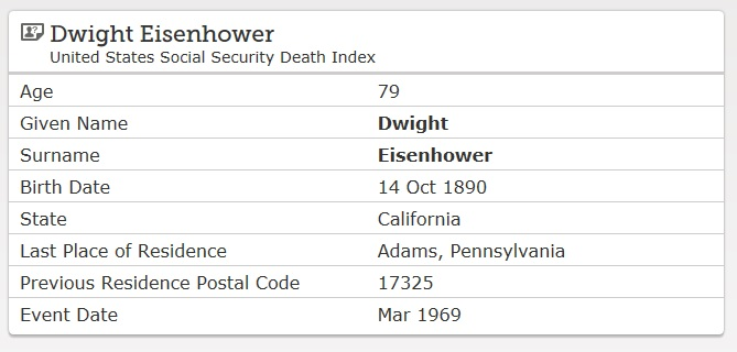 Listing of an SSDI search result in FamilySearch.org