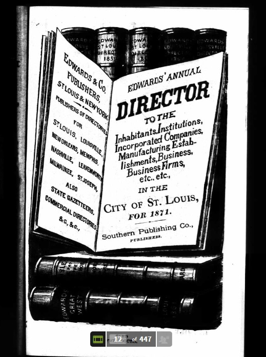Title Page of Edwards' Annual Directory (1871)