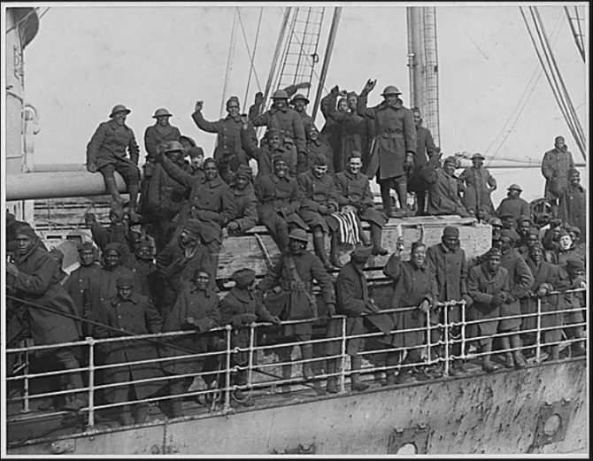 Black soldiers on World War I Army Transport Service ship (National Archives photo)
