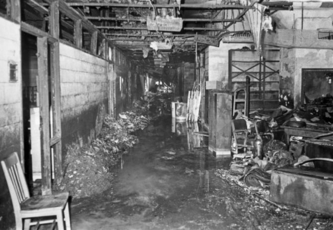 Aftermath of the 1921 fire at the Commerce Building (Census.gov photo)
