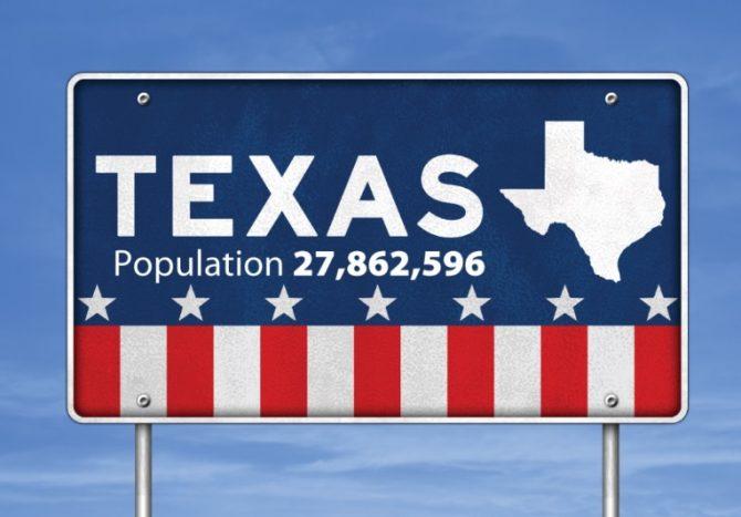 Texas population sign (Census.gov photo)