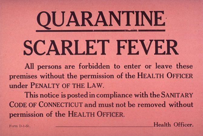 Scarlet Fever quarantine notice (NLM.gov photo)