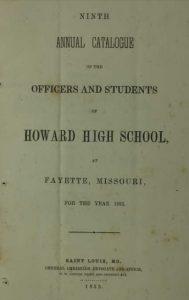 Howard High School Catalog (1854 school year)