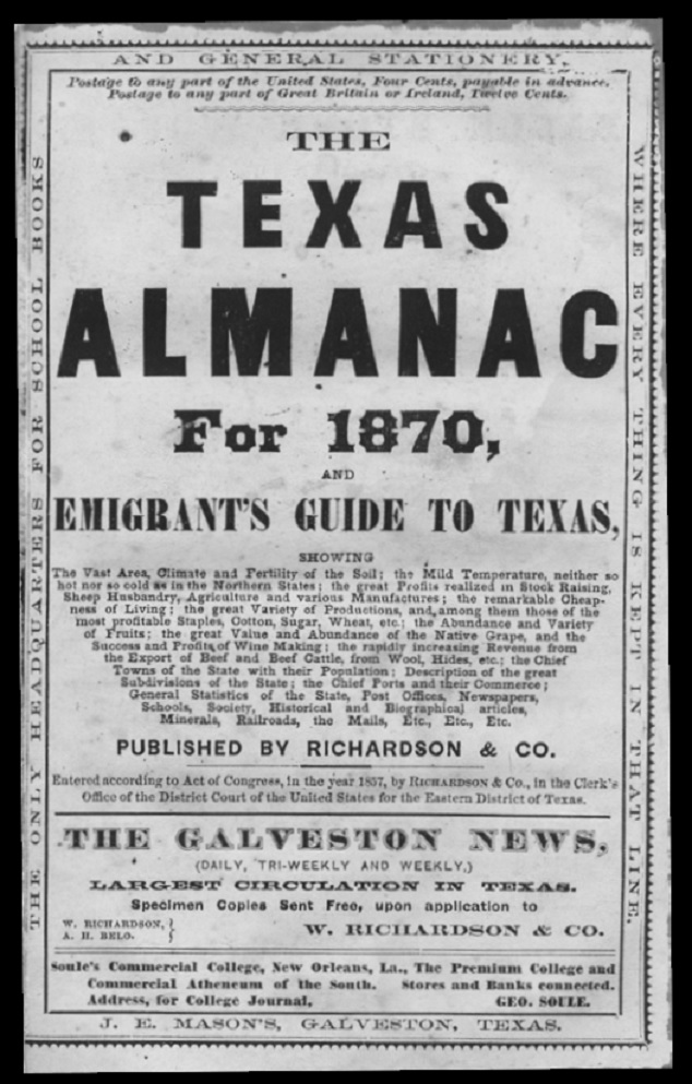Texas Almanac for 1870 (Tx.gov photo)