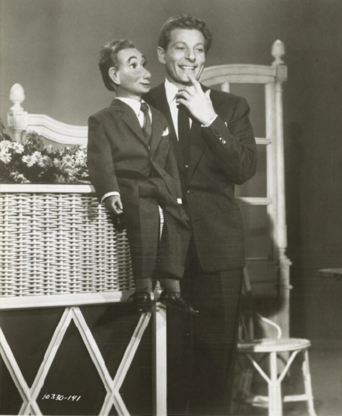 "Danny Kaye with dummy in still photo from ""Knock on Wood"" (LOC.gov photo)"