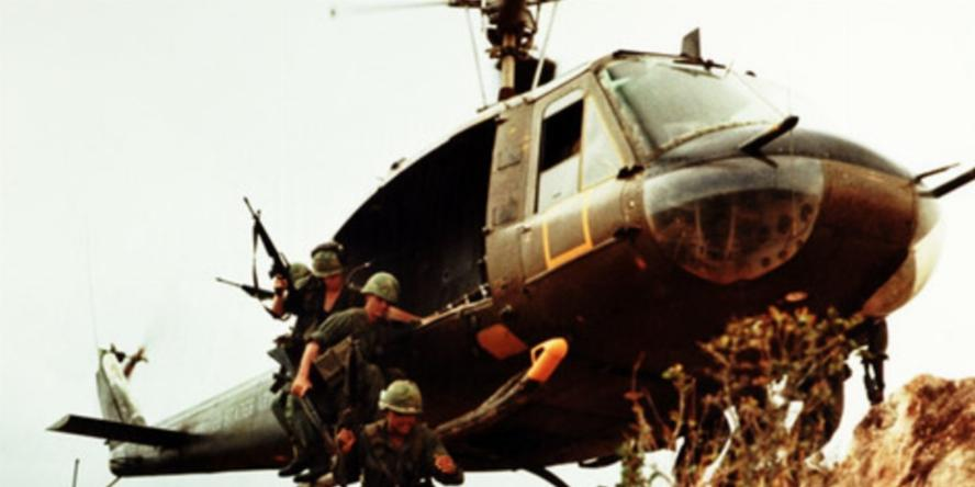 Soldiers getting out of Helicopter