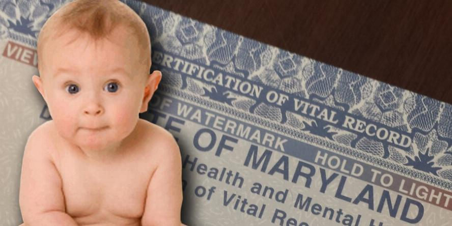 Baby in front of Birth Certificate