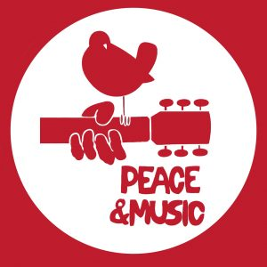 "Image of the Woodstock logo with a bird on a guitar and the text ""peace and music."""