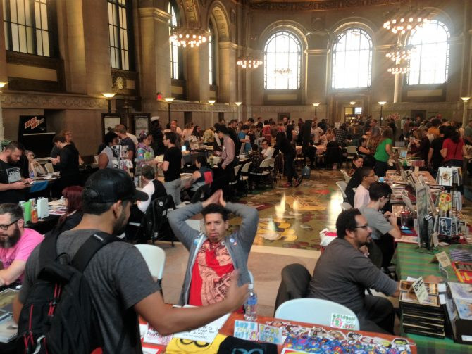 Image of vendors at 2018 Small Press Expo at Central Library