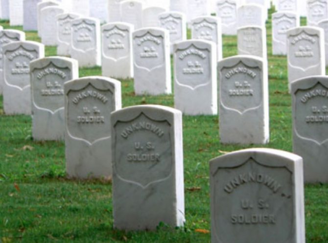 Headstones of unknown soldiers (NPS.gov photo)