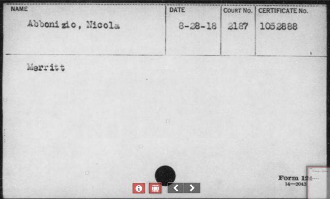 WWI Naturalizations Index Card (Fold3.com photo)