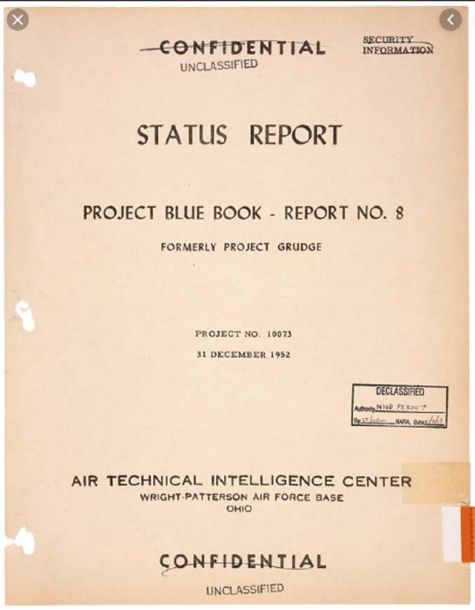 Project Blue Book Status Report, 1952 (Fold3.com photo)