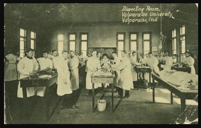 Dissection Room at Valparaiso University, Indiana (IN.gov photo)