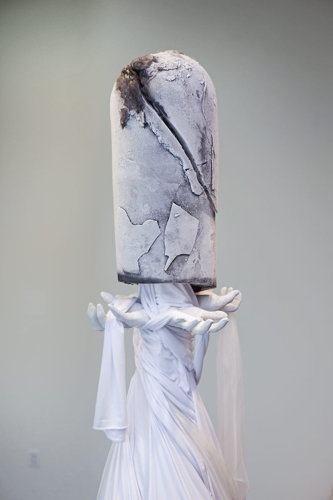 Post to Pillar Detail, ice, plaster and sheets 2019