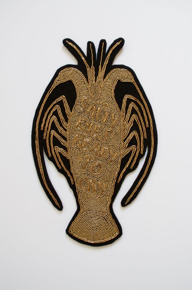Title: Remnants of the Golden Calf: Ocean's Kiss Goodbye Medium: Glass beads, thread, felt Date: 2021