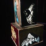 hand cut paper fish lamp