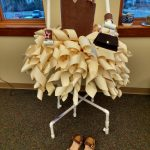 Curled Brown and Cream Paper Dress