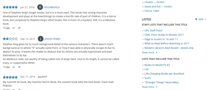 Comments and lists on It by Stephen King