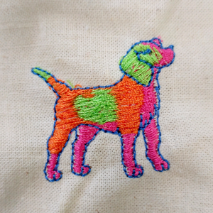 neon embroidered dog