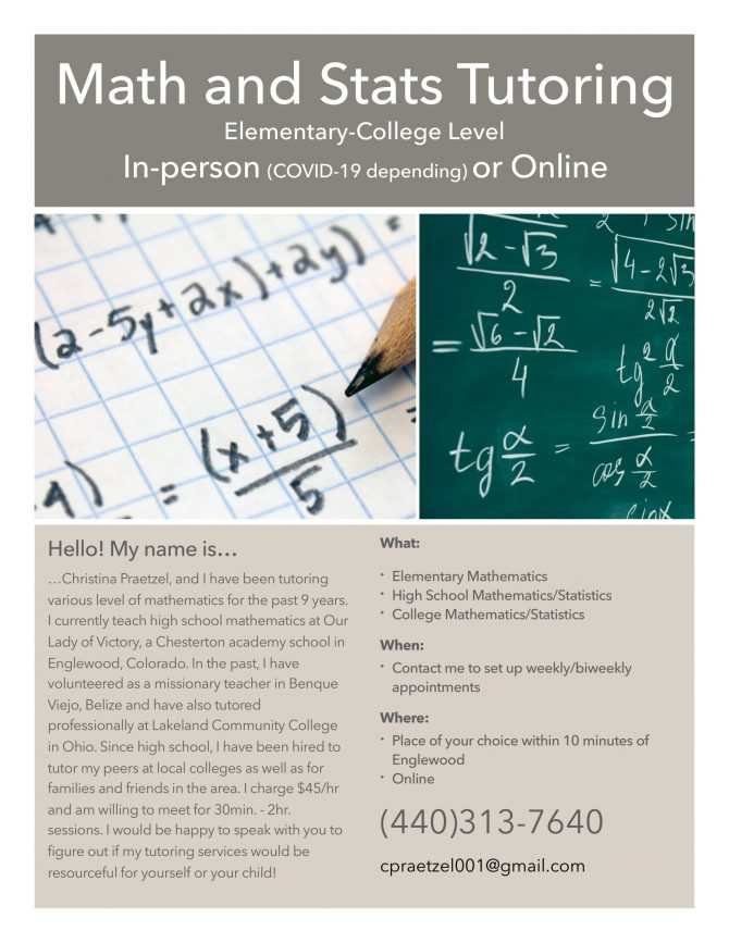 Math and Stats Tutoring Elementary through College Level, In-person(COVID-19 depending) or Online. (440)313-7640