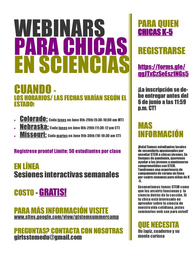 Webinars Para Chicas en Sciencias