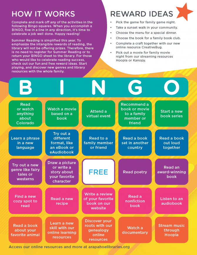 Summer Reading BINGO Reading Record page 2
