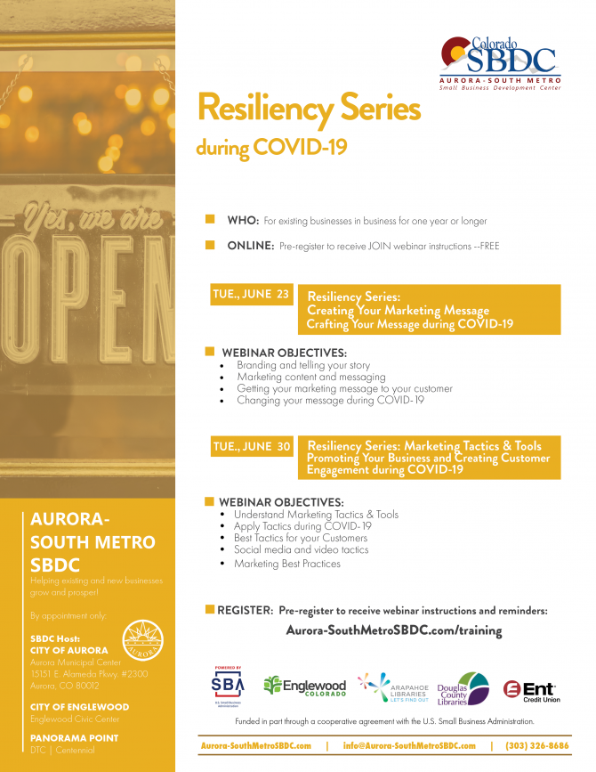 SBDC Resiliency Marketing Webinar Series During COVID-19