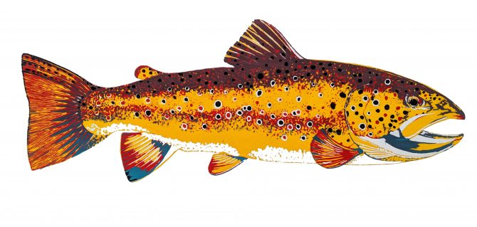 "Jennie Omasta, ""Brown Trout II"", Silkscreen Print, sold out, giclee prints available online."