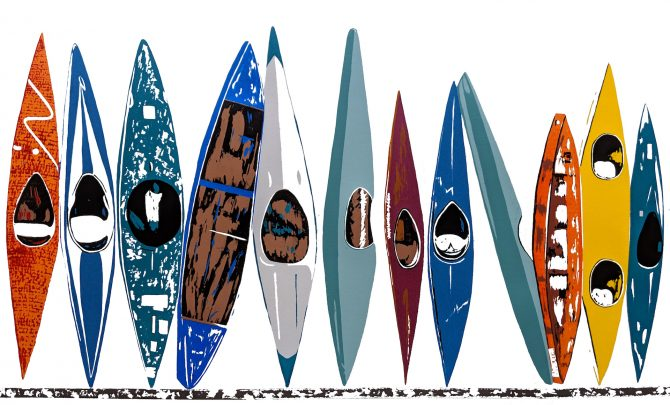 "Jennie Omasta, ""Salida Kayaks"", Silkscreen Print, sold out, giclee prints available online."