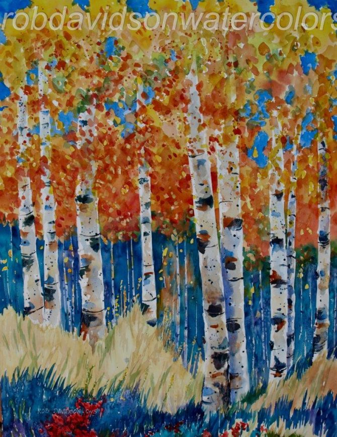 "Rob Davidson, ""Aspens Orange Blackfoot"", Watercolor Painting, 22""x30"""