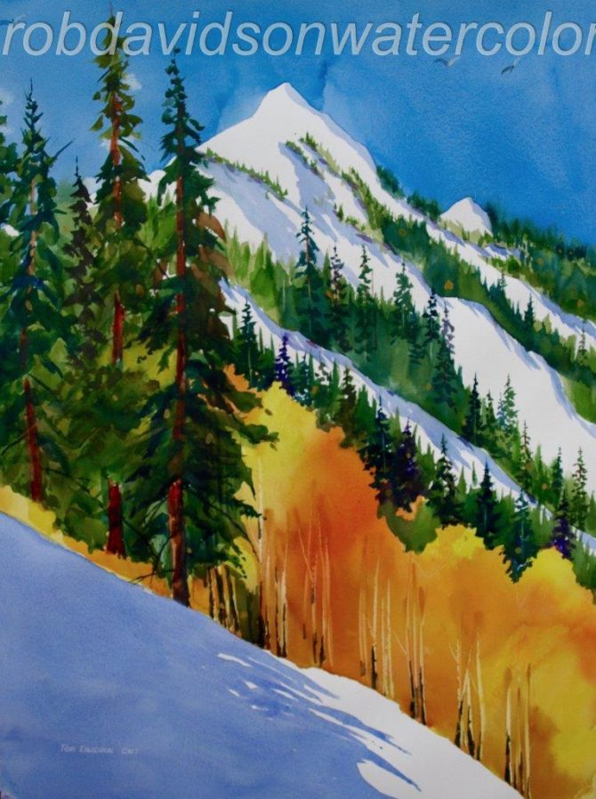 "Rob Davidson, ""Early Snow"", Watercolor Painting, 22""x30"""
