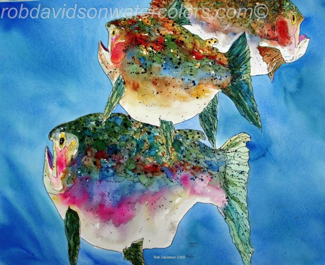 "Rob Davidson, ""Fatties Fish"", Watercolor Painting"