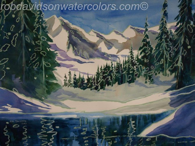 "Rob Davidson, ""High Country Lake Blue"", Watercolor Painting, 24""x18"""