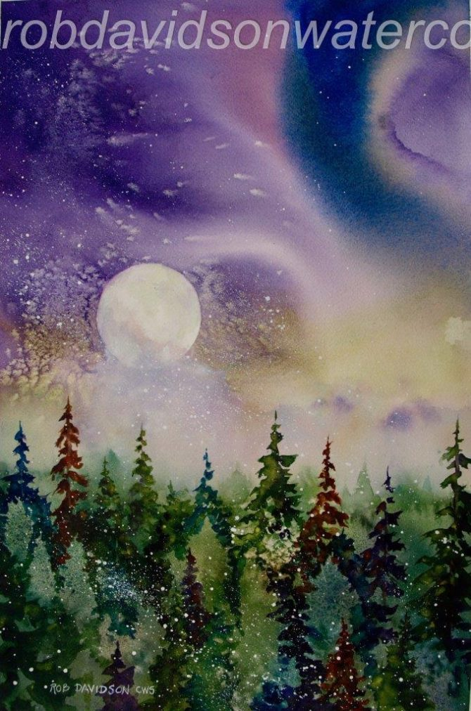 "Rob Davidson, ""Moon in Cosmos"", Watercolor Painting, 12x18"""