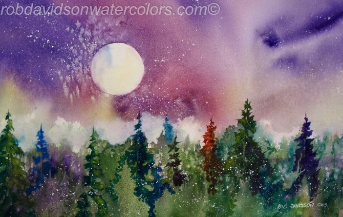 "Rob Davidson, ""Moon in Northern Lights"", Watercolor Painting, 12""x18"""