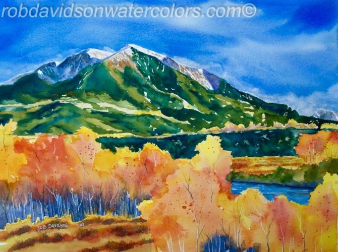 "Rob Davidson, ""Mt Sopris"", Watercolor Painting, 24""x18"""