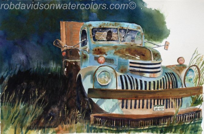 "Rob Davidson, ""Taos Truck"", Watercolor Painting, 16""x12"""