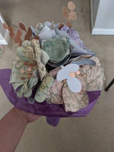 """""""Paper Flower Bouquet"""", Material: Paper, cardstock, ribbon, twine"""