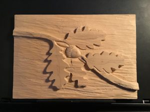 """""""Oak leaf relief carving"""", Materials: Wood, various carving tools"""