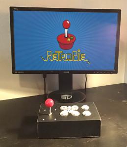 """Mini Arcade Stick Kit"", Materials: Adafruit arcade stick kit, screen, raspberry pi, various cables"