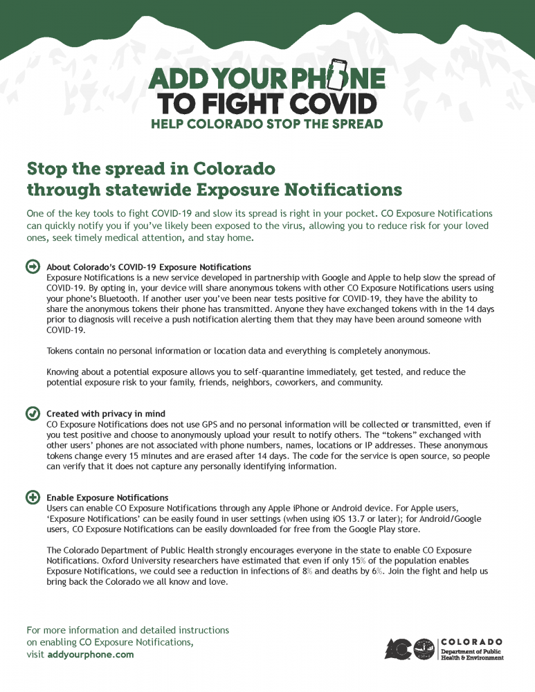 Add your phone to fight COVID, help Colorado stop the spread. Visti www.addyourphone.com