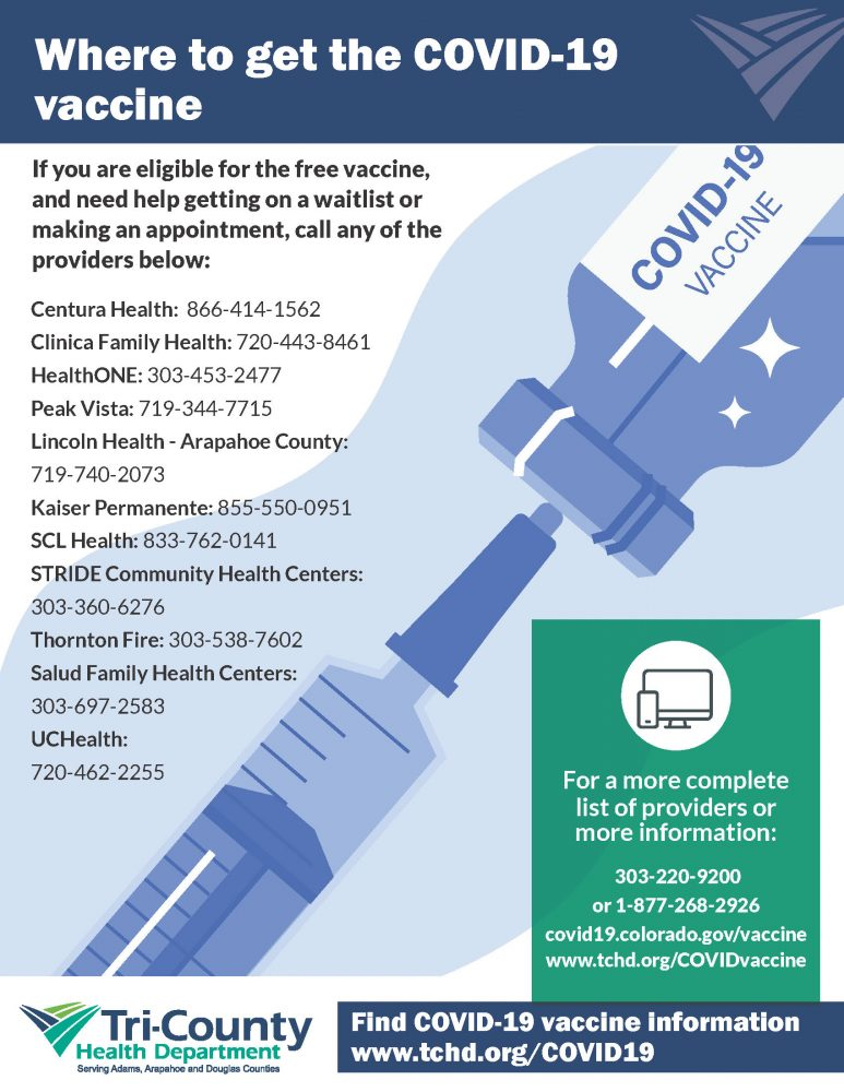 Where to get the COVID-19 vaccine. For a complete list of providers and more information call 303-220-9200 or 1-877-268-2926 covid19.colorado.gov/vaccine www.tchd.org/COVIDvaccine