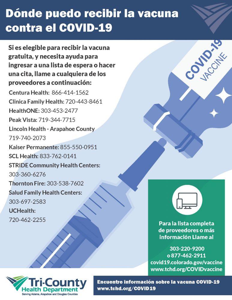 Dónde puedo recibir la vacuna contra el COVID-19. Para la lista completa de proveedores o más información Llame al 303-220-9200 o 877 462 2911 covid19.colorado.gov/vaccine www.tchd.org/COVIDvaccine