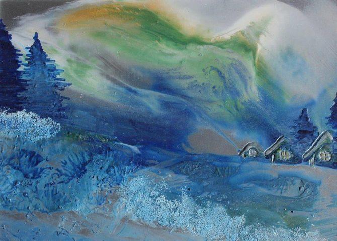 "Ala Park, ""Aurora Borealis"", encaustic (hot wax) painting"