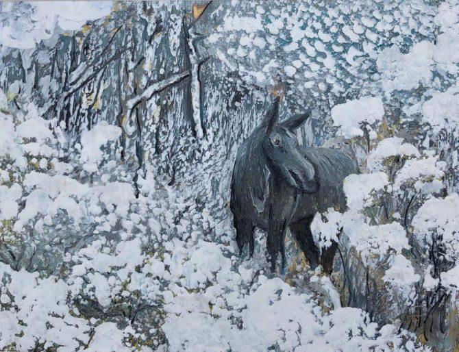 "Ala Park, ""Moose"", encaustic (hot wax) painting"