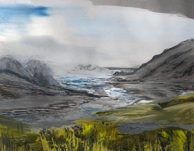 "Ala Park, ""Somewhere in Alaska "", encaustic (hot wax) painting"