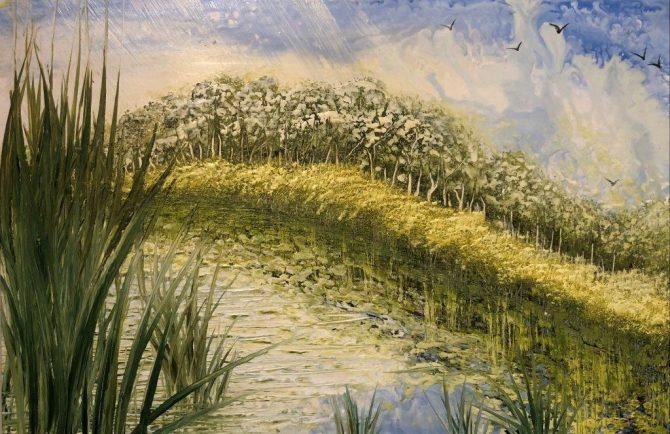 "Ala Park, ""Synshower"", encaustic (hot wax) painting"